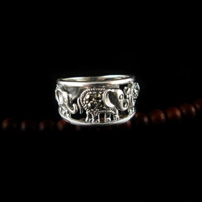 ФОТО Vintage Elephant Pattern Design Openwork Alloy Ring For Women