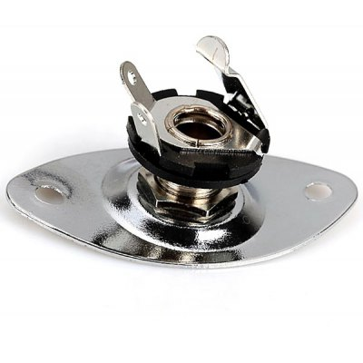 Practical Chrome Indented Oval Output Jack Plate for Electric Guitar