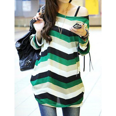 Long Sleeves Scoop Neck Four-Tone Color Stripes Pattern Long Sections Plus Size T-shirt
