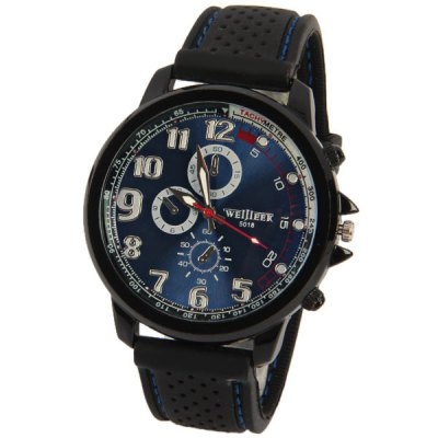 WEIJIEER Men Watch with Round Dial Silicon Watchband