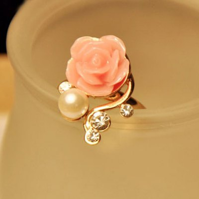 Beads Rhinestone Rose Flower Ring