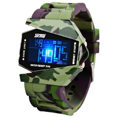 Skmei Blue LED Watch with Round Dial Silicon Watch Band