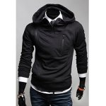 Buy Black Korean Style Faux Twinset Side Zipper Embellished Long Sleeves Men's Polyester Hoodies-29.52 Online Shopping GearBest.com