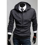 Buy Korean Style Solid Color Flap Pockets Long Sleeves Men's Polyester Hoodies XL DARK GRAY