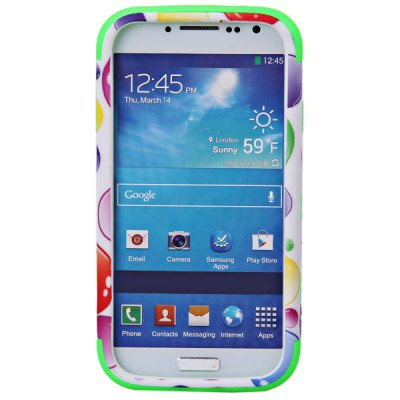 Plastic and Silicone Protective Case Cover with Colorful Bubble Pattern for Samsung Galaxy S4 i9500 , i9505