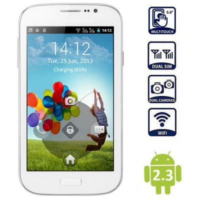 I9082 5.0 inch Phablet Android 2.3 SP6820 1GHz WVGA Screen 3MP Camera Dual SIM WiFi Bluetooth
