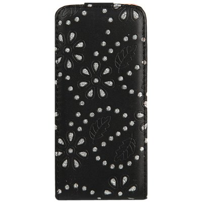ФОТО Fashion Diamonds Flowers Pattern Vertical Durable PU Leather Case for iPhone 5 / 5S