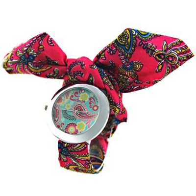 Chinoiserie Kaleidoscope Watch with Flower Patterned Cloth Band Design