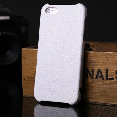 Lichee Pattern Soft Genuine Leather + Plastic Case for iPhone 5 / 5S