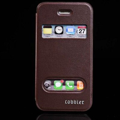 View Window Soft Sheepskin + Plastic Case with Stand for iPhone 4 / 4S