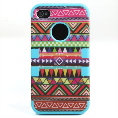 Unique Geometric Figure Detachable Silicone Soft Cover Case with Outer Plastic for iPhone 4 / 4S