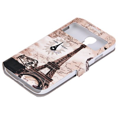 ФОТО My Colors Eiffel Tower with Map Pattern Intelligent Phone Call View Window Design PC + PU Case with Card Holder for Samsung Galaxy S4 i9500 / i9505