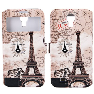 Eiffel Tower with Map Pattern PU + PC Case for Samsung Galaxy S4 i9500 / i9505