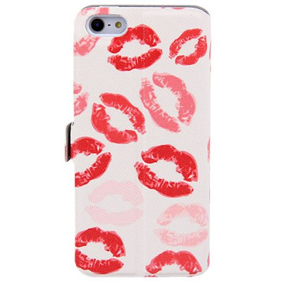 ФОТО My Colors Red Lip Pattern Intelligent Phone Call View Window Design PC + PU Case for iPhone 5C
