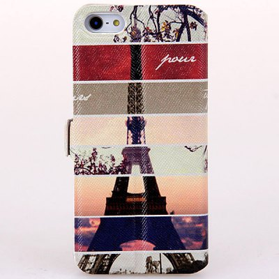 ФОТО My Colors Eiffel Tower Pattern PU + PC Case for iPhone 5 / 5S