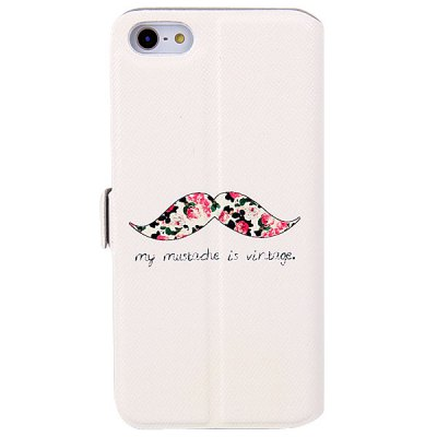 ФОТО My Colors Mustache Pattern Intelligent Phone Call View Window Design PC + PU Case for iPhone 5 / 5S