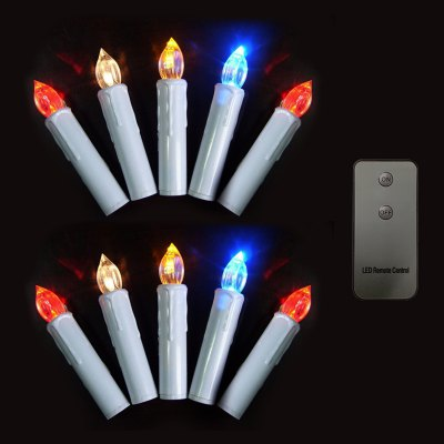 CIS-57364 RGB Remote Control LED Christmas Tree Candle - 10Pcs