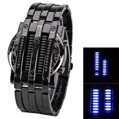 Blue LED Watch with Time-Date Indicate