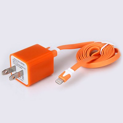 ФОТО Special Design 3A Dual USB Power Charger + 1M 8 Pin USB Noodle Cable for iPhone 5 / 5C / 5S