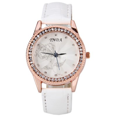 Fashion Watch with Rose Patterned Diamonds Round Dial and Leather Band for Women