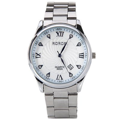 Quartz Watch with Roman Numbers Diamond Water Drops Hour Marks Round Dial and Steel Band for Women