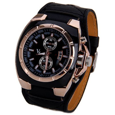 Alloy Case Quartz Watch with Trapezoids Hour Marks Round Dial and Leather Band for Men
