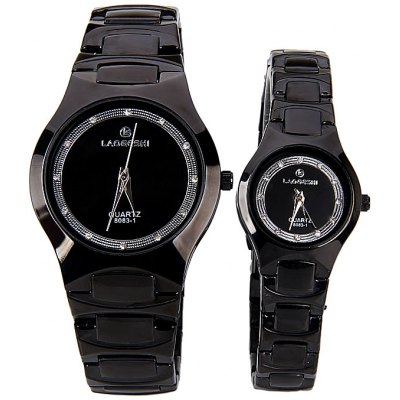 LAOGESHI Couple Watch with Quartz Round Dial and Ceramics Watch BandWatches &amp; Jewelry<br>LAOGESHI Couple Watch with Quartz Round Dial and Ceramics Watch Band<br><br>Watches categories: Couple tables<br>Watch style: Fashion<br>Style elements: Diamond<br>Color: Black<br>Shape of the dial: Round<br>Movement type: Quartz watch<br>Display type: Pointer<br>Case material: Other<br>Band material: Ceramic<br>Clasp type: Buckle<br>Special features: Three needle<br>Package weight: 0.2 kg<br>Package size (L x W x H): 27.6 x 4.9 x 1.7 cm<br>The male dial dimension (L x W x H): 0.7 cm<br>The male watch band dimension (L x W): 3.9 cm<br>The male watch weight: 0.092 kg<br>The male watch size (L x W x H): 26.6 x 3.9 x 0.7 cm<br>The female dial dimension (L x W x H): 0.7 cm<br>The female watch band dimension (L x W): 2.5 cm<br>The female watch weight: 0.054 kg<br>The female size (L x W x H): 21.6 x 2.5 x 0.7 cm<br>Package contents: 2 x Watch