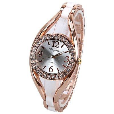 Ghaoyada Watch with Diamonds Round Dial Design and Steel Band