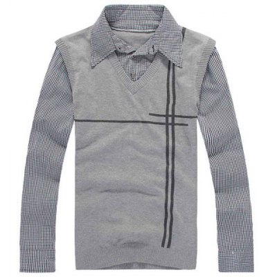 Fashion Checked Faux Twinset Slimming Shirt Collar Long Sleeve Polyester Sweater For Men