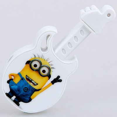Mini Guitar Shaped MP3 Player Bee-do Print with Earphone and USB Cable