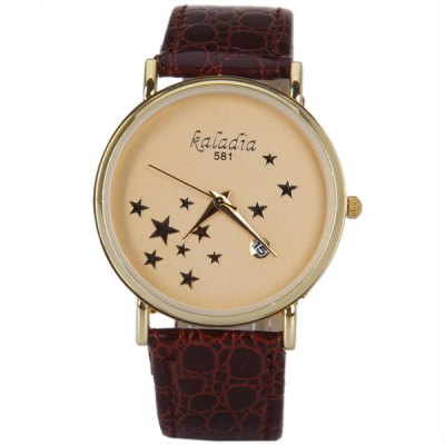 Гаджет   Five-Pointed Stars Pattern Quartz Watch with Calendar and Analog Indicate Leather Watchband for Women Men