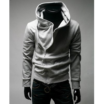 Simple Type Hooded Side Zipper Solid Color Long Sleeve Cotton Blend Hoodie