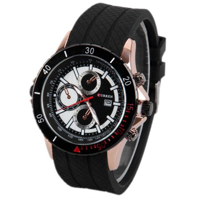 Curren Multi - function Watch with Calendar Small Three Decorating Hand Round Rubber Band