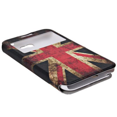 ФОТО My Colors Union Jack Pattern Intelligent Phone Call View Window Design PC + PU Case for Samsung Galaxy Note 2 N7100