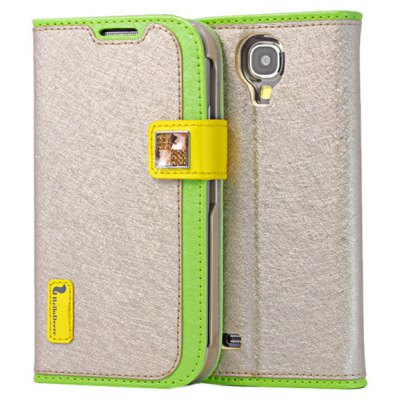 Hello Deere Ice Silk Series PU Leather + PC Stand Cover Case for Samsung Galaxy S4 i9500 / i9505 with Card Holder
