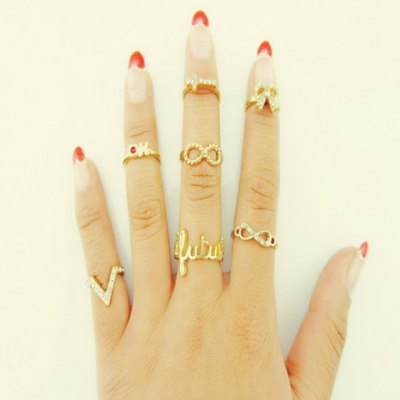 7 Pieces Chic Bowknot V Letter Rings For Women