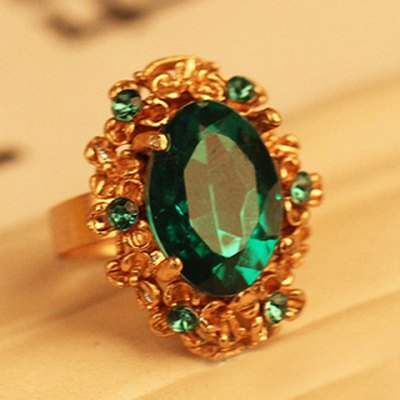Oval Faux Gem Alloy Ring