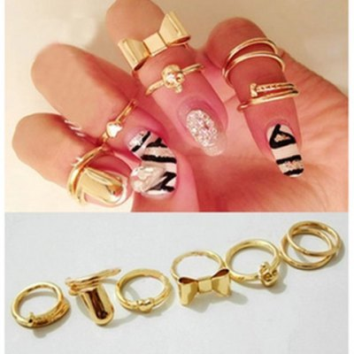 7PCS Of Heart & Bowknot & Skull & Round & Nail Shape Knuckle Rings