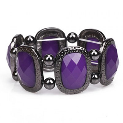 Stylish Gemstone Decorated Elastic Bracelet For Women