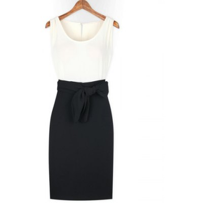Ladylike Style Cut Out Color Block Scoop Neck Women's Dress
