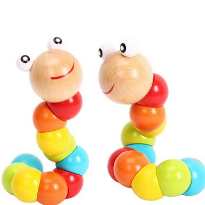 Multicolour Magical Twisting Insect Child Kids Baby Toy Wooden Toys Train Baby Fingers Flexibility Learning Education Wood Toys