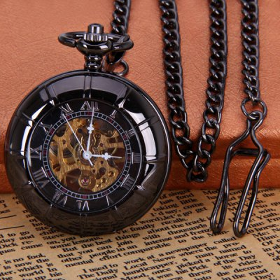 Vintage Style Mechanical Pocket Watch with Flip Round Dial Design