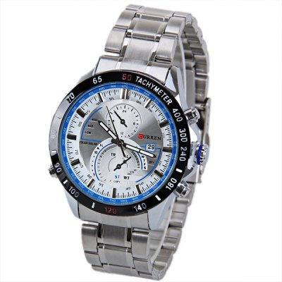 Curren 8149 Men Watch with Calendar and Two Small Decorating Hands Round Dial and Steel Band
