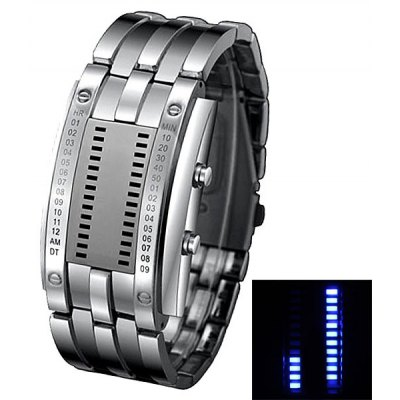 Blue LED Watch with Week Date Arch Dial and Steel Band for Men