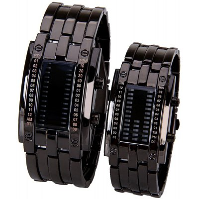 Blue LED Multi - function Watch with Arch Dial Week Date and Steel Band