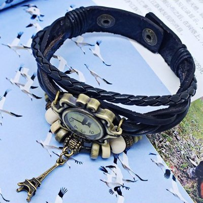 Vintage Style Watch with Tower Pendant and Knitting Leather Watch Band