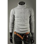 Buy Casual Style Turtleneck Solid Color Jacquard Design Long Sleeves Men's Cotton Sweater M LIGHT GRAY