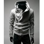 Simple Type Hooded Side Zipper Solid Color Long Sleeve Cotton Blend Men's Hoodie
