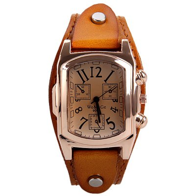 WoMaGe Brand Watch with Three Small Decorating Hands Rectangle Dial and Leather Band three hands 30 см light breeze 22391