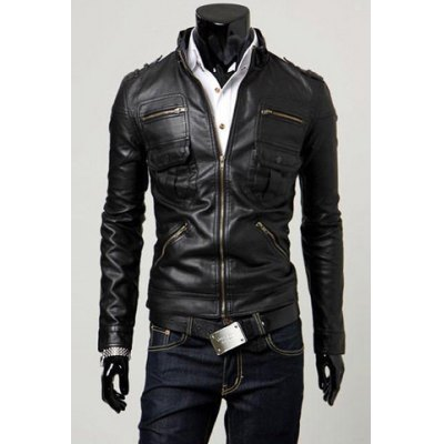 Fashion Slimming Pocket Zipper Design Stand Collar Long Sleeve PU Leather Jacket For MenMens Jakets &amp; Coats<br>Fashion Slimming Pocket Zipper Design Stand Collar Long Sleeve PU Leather Jacket For Men<br><br>Clothes Type: Leather &amp; Suede<br>Material: Faux Leather, Polyester<br>Collar: Mandarin Collar<br>Clothing Length: Short<br>Style: Fashion<br>Weight: 1.1KG<br>Sleeve Length: Long Sleeves<br>Season: Fall<br>Package Contents: 1 x Jacket